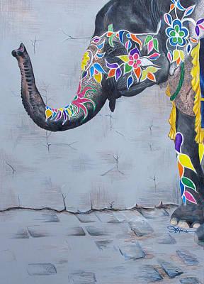 Indian Tribal Art Drawing - Elephant by Amani Hanson