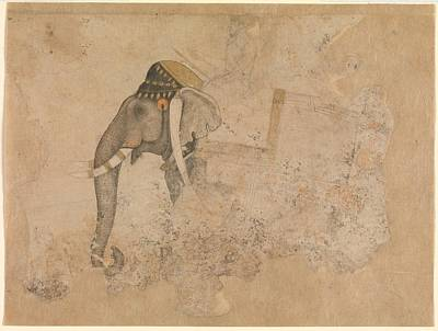 India Ink Wall Art - Drawing - Elephant And Rider by Attributed to Hashim