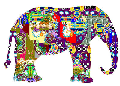 Painting - Elephant Animal Wild Artistic Painted Patchwork  Art Navinjoshi  Rights Managed Images Graphic Desig by Navin Joshi