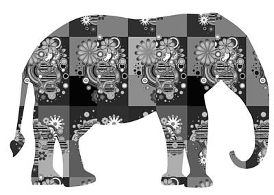 Photograph - Elephant Animal Wild Bnw Black N White Artistic Painted Patchwork  Art Navinjoshi  Rights Managed Im by Navin Joshi