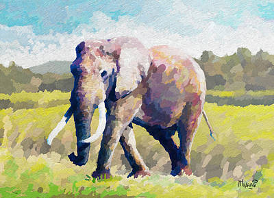 Elephant Painting - Elephant by Anthony Mwangi