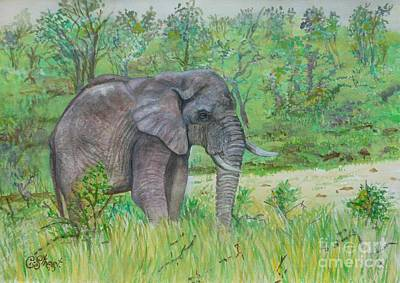 Park Scene Painting - Elephant At Kruger by Caroline Street