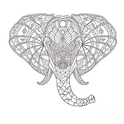 Flower Head Wall Art - Digital Art - Elephant. Black And White Hand Drawn by Fosin