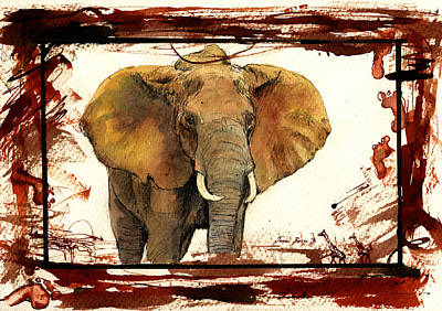 Blood Painting - Elephant Blood Safari by Juan  Bosco
