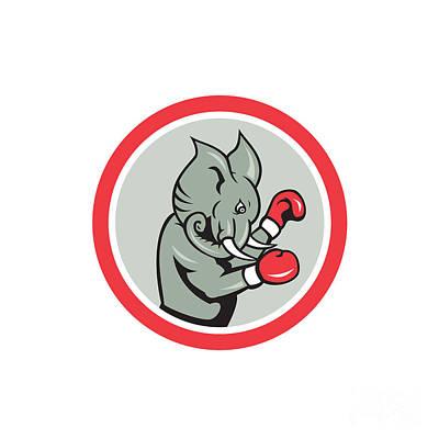 Elephant Boxer Boxing Circle Cartoon Art Print