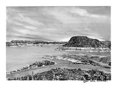 Drawing -  Elephant Butte Lake N M by Jack Pumphrey