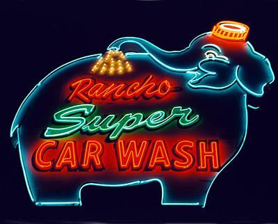 Neon Photograph - Elephant Car Wash Rancho Mirage California by Matthew Bamberg