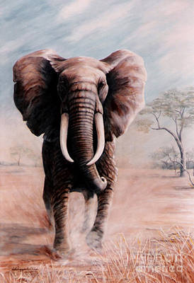 Elephant Charge Art Print by DiDi Higginbotham
