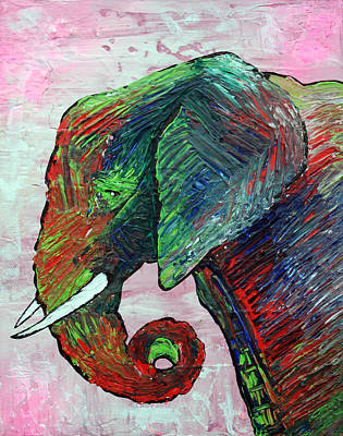 African Painting - Elephant Colors by Laura Barbosa