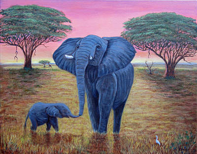 Painting - Elephant Dawn by Fran Brooks