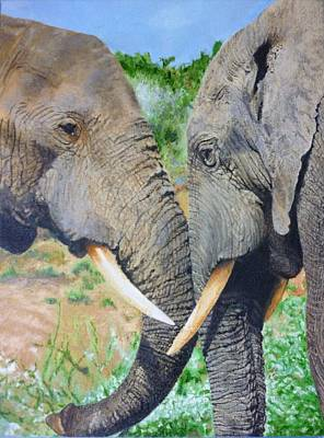 Black Tusk Painting - Elephant Emotional Bond 14 X 16 Inch Original Oil Painting By Pigatopia by Shannon Ivins