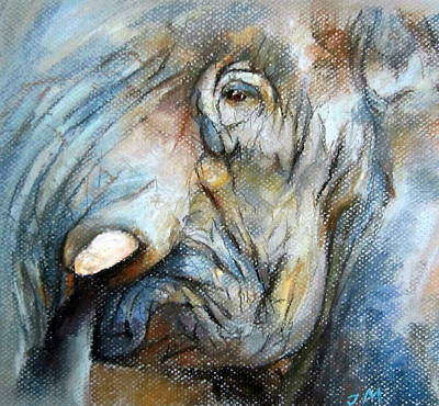 Art Print featuring the painting Elephant Eye by Jieming Wang