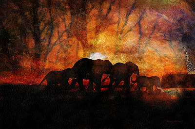 Elephant Family At Sunset Textured Art Print