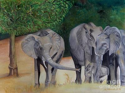 Carolinestreetart Painting - Elephant Family Gathering by Caroline Street