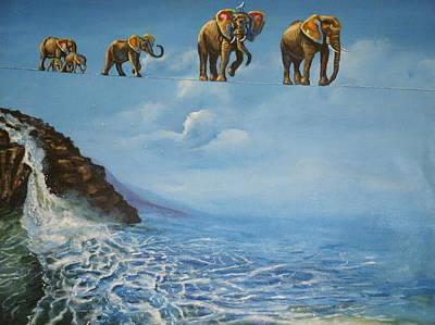 Elephant Family On A Tightrope Art Print by Barbara Gray