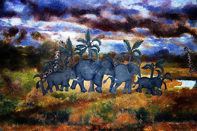 Elephant Family With Stormy Skies Textured Art Print