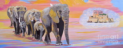 Art Print featuring the painting Elephant Fantasy Must Open by Phyllis Kaltenbach