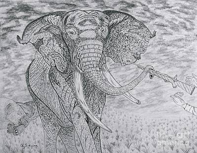Drawing - Elephant Gun by Gerald Strine