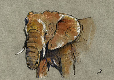 African Painting - Elephant Head African by Juan  Bosco