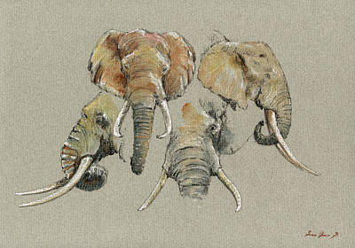 Decals Painting - Elephant Heads by Juan  Bosco