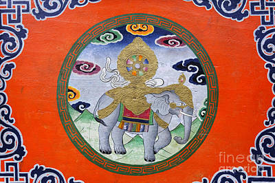 Religious Art Photograph - Elephant Illustration At The Buddhist Labrang Monastery In Sikkim India by Robert Preston