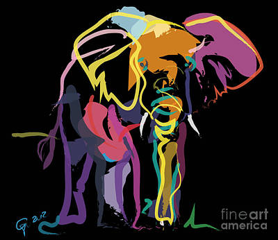 Elephant Painting - Elephant In Colour by Go Van Kampen