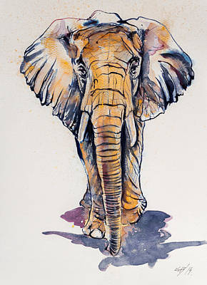 Elephant Painting - Elephant In Gold by Kovacs Anna Brigitta