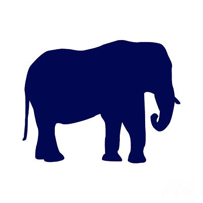 Elephant In Navy And White Art Print