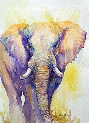 Impressionistic Animal Art Painting - Elephant In Purple by Arti Chauhan