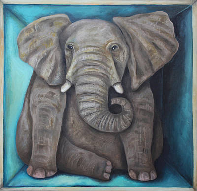 Tusks Painting - Elephant In The Room 2 by Leah Saulnier The Painting Maniac