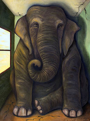Prehistoric Painting - Elephant In The Room by Leah Saulnier The Painting Maniac