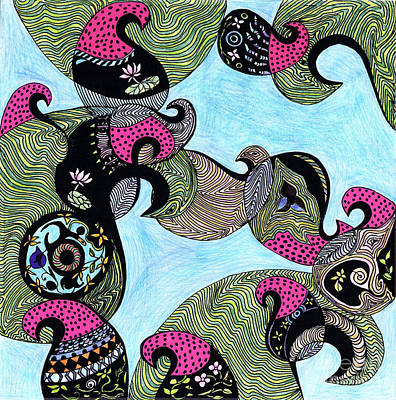 Elephant Lotus And Bird Design Art Print by Mukta Gupta