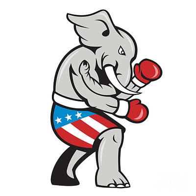 Beers On Tap - Elephant Mascot Boxer Boxing Side Cartoon by Aloysius Patrimonio