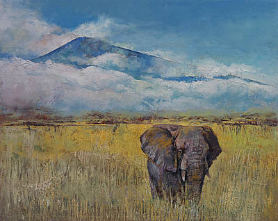 Nature Oil Painting - Elephant Savanna by Michael Creese