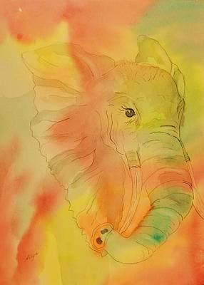 Painting - Elephant Mirage by Ellen Levinson