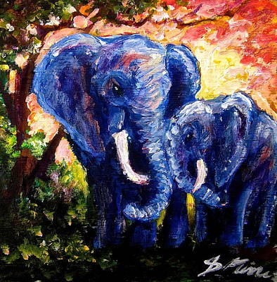 Painting - Elephant Mother Andduaghter by Sebastian Pierre