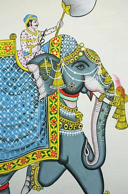 Mural Photograph - Elephant Mural, Mahendra Prakash Hotel by Inger Hogstrom