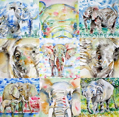 Sahara Painting - Elephant - Nine Points Of View by Fabrizio Cassetta