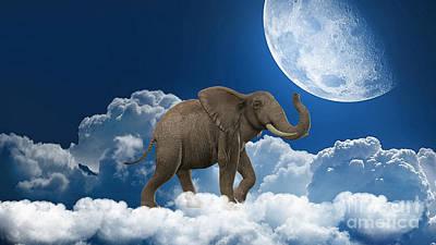 Fantasy Mixed Media - Elephant On Cloud 9 by Marvin Blaine