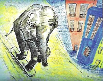 Animals Drawings - Elephant On The Skate Board  by Birgit Schlegel