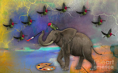 African Mixed Media - Elephant Painting Birds Out Of Thin Air. by Marvin Blaine