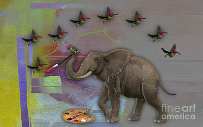 Bird Mixed Media - Elephant Painting by Marvin Blaine