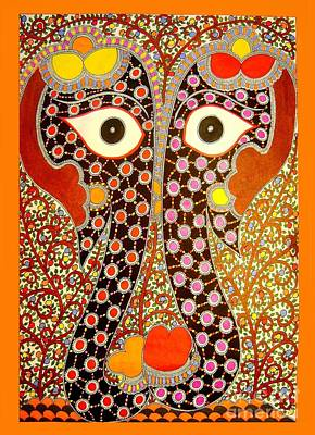 Painting - Elephant Pair-madhubani Paintings by Neeraj kumar Jha