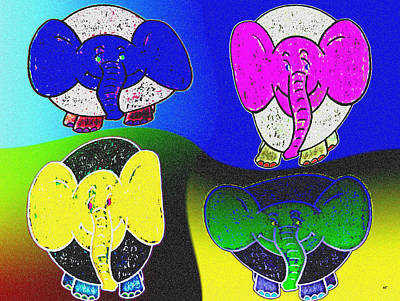 Digital Art - Elephant Parade by Will Borden