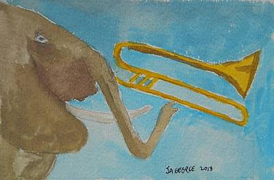 Elephant Playing Trombone Original by James George