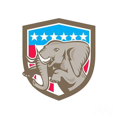 African-american Digital Art - Elephant Prancing Stars Shield Retro by Aloysius Patrimonio