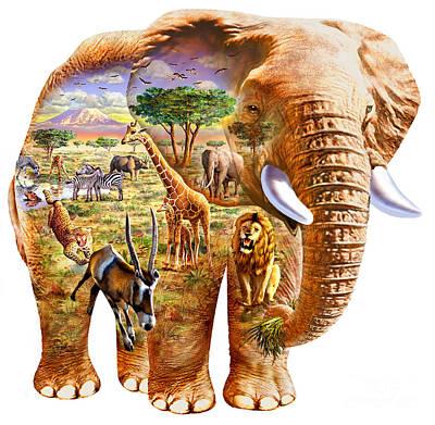 Elephants Digital Art - Elephant Puzzle by Adrian Chesterman