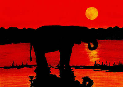 Fine Dining - Elephant Silhouette African Sunset by Michael Vigliotti
