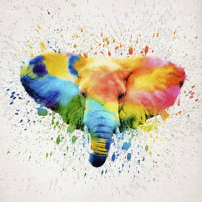 Elephant Splash Art Print by Aged Pixel