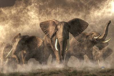 Earthquake Digital Art - Elephant Stampede by Daniel Eskridge